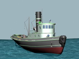 Cartoon Steamboat 3d model