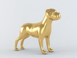 Gold Dog Figurine 3d model
