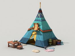Cartoon Tent 3d model