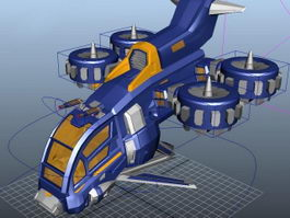 Animated Futuristic Gunship 3d model