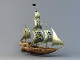 Old Pirate Ship 3d preview