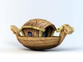 Cartoon Wooden Boat 3d model