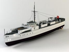 WWII German E-boat 3d model