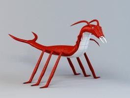Red Centipede Cartoon 3d model