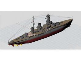 Imperial Japanese Navy Nagato Battleship 3d model