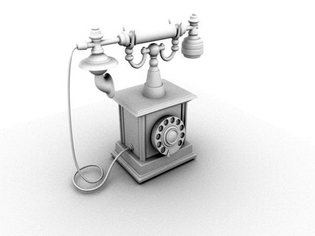 Old Style Classic Telephone 3d model Maya files free download