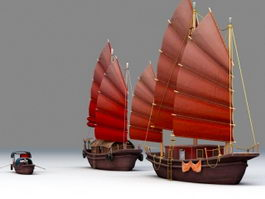 Chinese Junk Ship & Boat 3d model