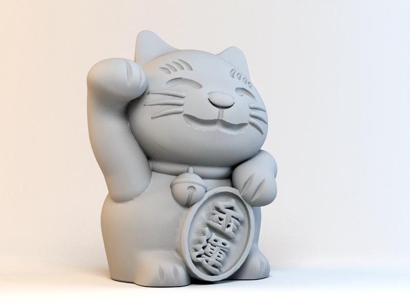 Beckoning Cat 3d rendering