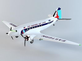 DC-3 Aircraft 3d model
