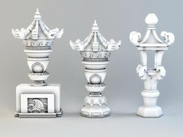 Asian Stone Lantern 3d model