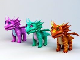 Cute Anime Dragons 3d model
