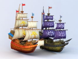 Anime Pirate Ship 3d model
