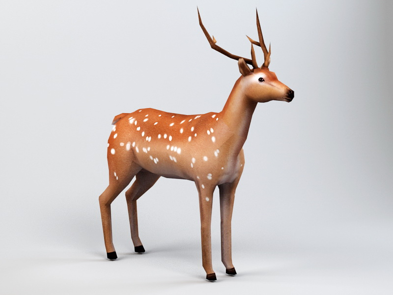 Low Poly Deer Rig 3d model 3ds Max files free download - modeling