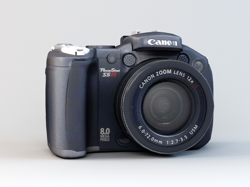 3dSkyHost: Canon PowerShot S5 IS Camera 3D Model free download