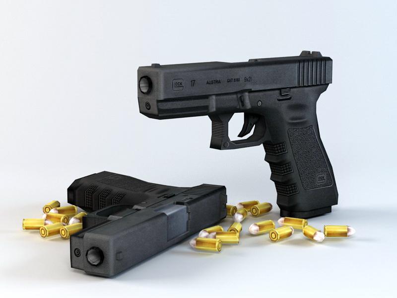 Glock-17 Pistol 3d model 3D Studio files free download - modeling