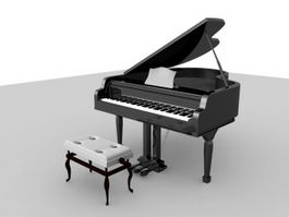 Piano and Bench 3d model