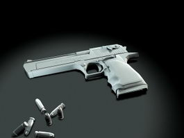 Desert Eagle and Bullets 3d model