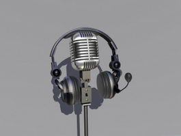 Microphone and Headphone 3d model