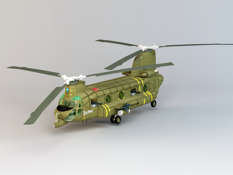 Boeing CH-47 Chinook 3d model 3ds Max files free download - modeling