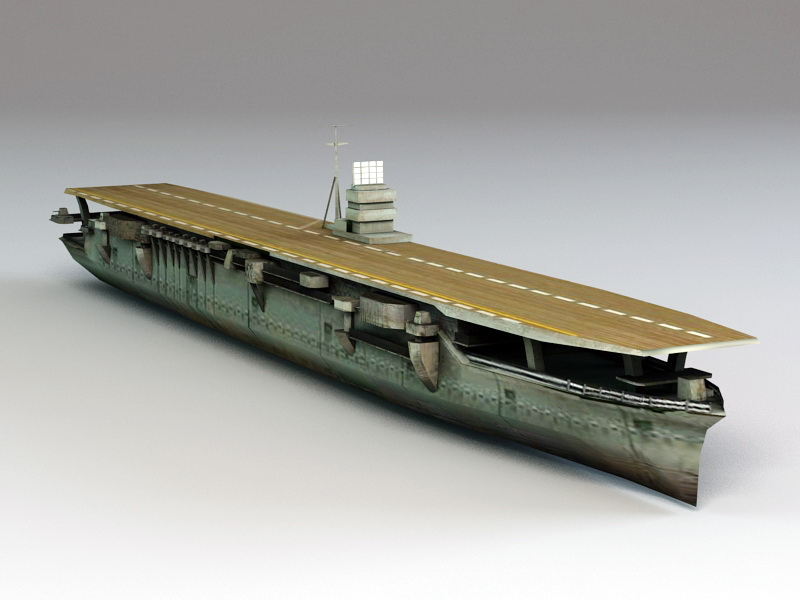 Japanese Aircraft Carrier Akagi 3d model 3ds Max files free download