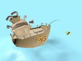 Fishing Boat Cartoon 3d model