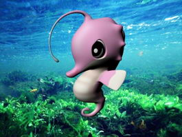 Pink Cartoon Seahorse 3d model