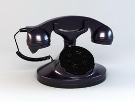 Black Black Telephone 3d model