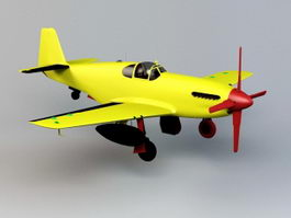 Yellow Cartoon Plane 3d model