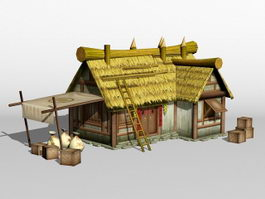 Ancient Chinese Thatched Farmhouse 3d model
