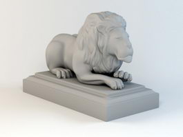 Laying Down Lion Statue 3d model
