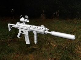 Assault Rifle with Silencer 3d model