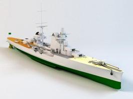 WW2 Battleship 3d model