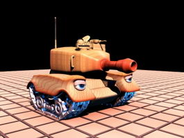 Cute Cartoon Tank 3d model