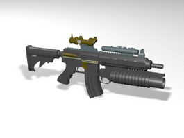 Assault Rifle with Scope 3d model