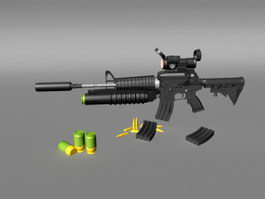 M4A1 Carbine Assault Rifle 3d model