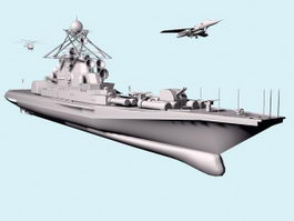 Aircraft Carrier & Fighter Jets 3d model