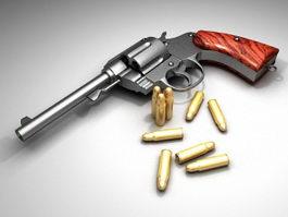 Revolver and Bullets 3d model
