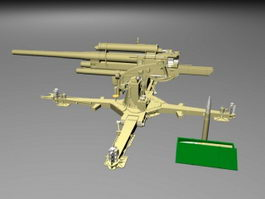 German 8.8 cm Flak 36 Artillery Gun 3d model