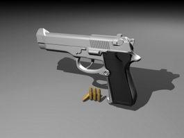 Pistol & Bullets 3d model