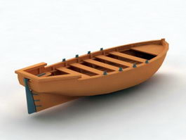 Small Wooden Boat 3d model
