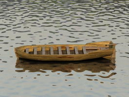 Wooden Boat on Water 3d model