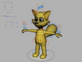 Cartoon Fox Character Rig 3d model