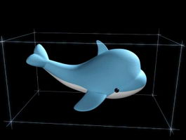 Cartoon Blue Dolphin 3d model