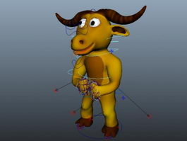 Cartoon Bull Character Rig & Animated 3d model