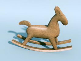 Wooden Rocking Horse 3d preview