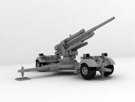 Flak 36-37 88mm Anti-aircraft Gun 3d model