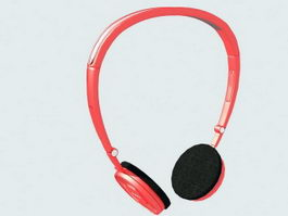Red Headphones 3d model