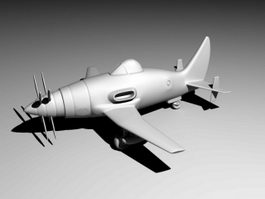 Cartoon Jet Plane 3d model