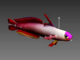 Animated Purple Fish Rig 3d model