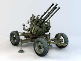 WW2 Anti-Aircraft Gun 3d model